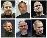 <p>Combinação de fotos de arquivo do presidente da Apple, Steve Jobs. Da esquerda para a direita, julho de 2000, novembro de 2003, setembro de 2005, setembro de 2006, janeiro de 2007 e setembro de 2008.</p>
