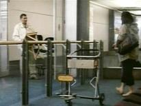 <p>Polish immigrant Robert Dziekanski is seen being approached by an unidentified woman (R) in the arrivals area of the Vancouver airport in this video footage taken October 14, 2007. REUTERS/Paul Pritchard/Handout</p>