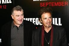 """<p>Actors Robert De Niro and Al Pacino (R) arrive for the premiere of the film """"Righteous Kill"""" in New York September 10, 2008. REUTERS/Keith Bedford</p>"""