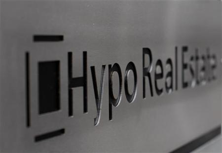 A logo of German lender Hypo Real Estate is pictured in Hamburg February 2, 2009. The situation at troubled German lender Hypo Real Estate is not getting easier, a Finance Ministry spokesman said on Monday. REUTERS/Christian Charisius (GERMANY)