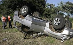 <p>Сотрудники зимбабвийской дорожной полиции осматривают место аварии, в которой пострадал премьер-министр Морган Цвангирай, к югу от Хараре 7 марта 2009 года. Премьер-министр и лидер оппозиции Зимбабве Морган Цвангирай попал в пятницу в автомобильную аварию. Его жена погибла; жизнь главы правительства вне опасности, сообщили члены возглавляемой им партии. REUTERS/Philimon Bulawayo</p>