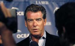<p>Actor Pierce Brosnan is interviewed at the annual Oceana Partner's awards gala in Pacific Palisades, California October 18, 2008. REUTERS/Mario Anzuoni</p>
