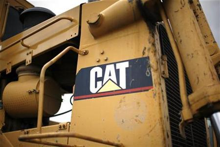The logo on a piece of Caterpillar heavy equipment is pictured at a storage yard in Denver in this July 22, 2008 file photo. REUTERS/Rick Wilking