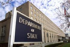 <p>Вид на здание МИД (Государственного департамента) США в Вашингтоне 8 декабря 1999 года. Роуз Готтемеллер, специалист по российской обороной стратегии и ядерным вопросам, может занять пост заместителя госсекретаря по проверке, соответствию и выполнению договоров о контроле над распространением оружия, сообщил во вторник Белый дом. REUTERS/Kevin Lamarque</p>
