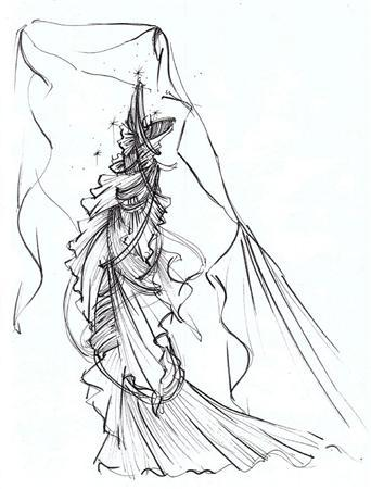 An undated handout image of a sketch released on March 25, 2009 by Mouawad shows a dress dubbed the ''Nightingale of Kuala Lumpur''. REUTERS/Faisol Abdullah/Mouawad/Handout