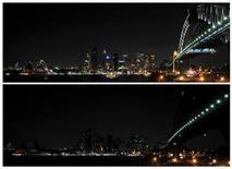 <p>Lo skyline di Sydney prima (in alto) e dopo (in basso) l'Earth Hour, l'ora in cui si sono spente le luci per sottolineare l'importanza del cambiamento climatico. REUTERS/Patrick Riviere</p>