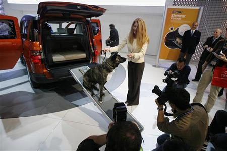 Heather Cammisa with the Humane Society and a dog named Sammy demonstrate dog friendly features of a Honda Element Dog Friendly Concept vehicle at the 2009 New York International Auto Show April 9, 2009. REUTERS/Lucas Jackson