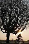 <p>A man on his bicycle makes his way as the sun rises over the Alster lake in the northern German town of Hamburg April 2, 2009. REUTERS/Christian Charisius</p>