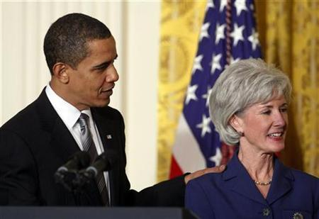 U.S. President Barack Obama introduces Health and Human services Secretary nominee Kansas Governor Kathleen Sebelius in the East Room at the White House in Washington, in this file photo from March 2, 2009. REUTERS/Jim Young