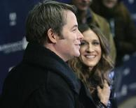 """<p>Cast member Matthew Broderick (L) is interviewed as his wife, actress, Sarah Jessica Parker looks on at the premiere of director Terry Kinney's film """"Diminished Capacity"""" at the 2008 Sundance Film Festival in Park City, Utah, January 21, 2008. REUTERS/Fred Prouser</p>"""