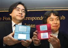 <p>Presidente da Nintendo, Satoru Iwata, e diretor sênior Shigeru Miyamoto.</p>
