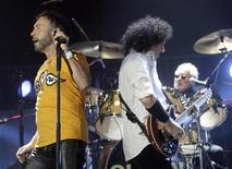 "<p>Paul Rogers (L) and Brian May perform on stage during the ""Queen + Paul Rogers European Tour 2008"" in Riga September 19, 2008. REUTERS/Ints Kalnins</p>"