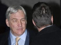 <p>Conrad Black arrives for his sentencing hearing in Chicago December 10, 2007. REUTERS/Stephen J. Carrera</p>