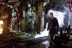 "<p>Actor Christian Bale is shown in a scene from ""Terminator Salvation"" in this undated publicity photo released to Reuters May 20, 2009. True to his catchphrase ""I'll be back,"" California Governor Arnold Schwarzenegger did make a brief cameo, even though he never set foot on the movie's set. Through computer-generated special effects, his fearsome visage was taken from a previous movie and superimposed on a deadly Terminator robot. REUTERS/Richard Foreman/Warner Bros Pictures/Handout</p>"