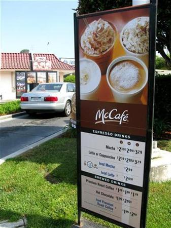 A drive-through menu displays McDonald's new coffee products under the ''McCafe'' brand at one of their restaurants in Del Mar, California September 17, 2008. REUTERS/Lisa Baertlein