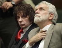 <p>Music producer Phil Spector (L) sits in court with his attorney Dennis Riordan at the Los Angeles Superior Court, during his sentencing for the February 2003 shooting death of actress Lana Clarkson May 29, 2009. REUTERS/Al Seib/Pool</p>