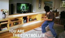 <p>Una dimostrazione su schermo del nuovo Project Natal per Xbox, la nuova tecnologia di controllo del movimento. Los Angeles, 1 giugno 2009. REUTERS/Fred Prouser</p>