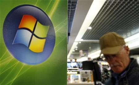 A man walks by the logo of Microsoft in a shop of Brussels in this September 17, 2007 file photo. The company issued software to fix 31 security flaws in its programs, a single-day record for the company whose products are targeted by hackers because they sit on the vast majority of computers. REUTERS/Sebastien Pirlet
