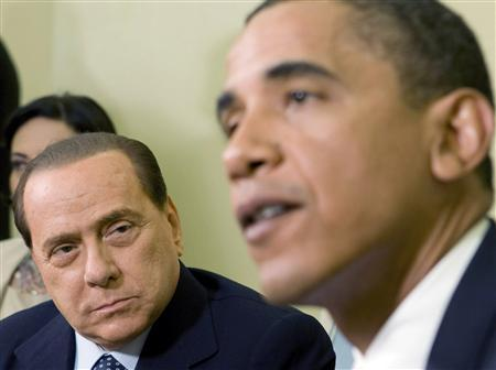 President Barack Obama hosts a meeting with Italy's Prime Minister Silvio Berlusconi in the Oval Office of the White House, June 15, 2009. REUTERS/Larry Downing