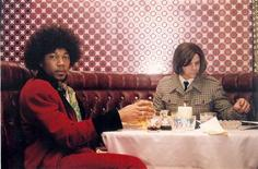 """<p>Actors Royale Watkins (L) as Jimi Hendrix and Justin Henry as Howard Kaylan of The Turtle's in a scene from """"My Dinner with Jimi"""". The film is due out on DVD June 23rd and dramatizes the Turtle's whirlwind tour of 1967 London. REUTERS/Fallout Entertainment/Handout</p>"""