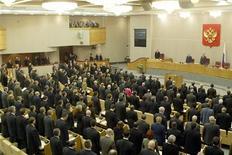 <p>Заседание Государственной Думы РФ в Москве 29 декабря 2003 года. Госдума РФ в среду приняла по просьбе правительства законопроект, передвигающий сроки внесения проекта федерального бюджета в нижнюю палату. REUTERS/Viktor Korotayev REUTERS</p>