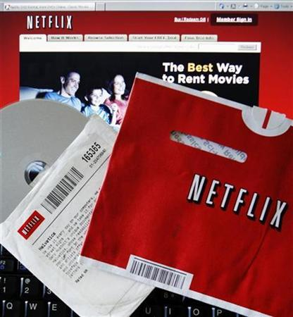 A DVD rental from Netflix is seen against the company's website in Medford, Massachusetts in this July 25, 2008 file photo. REUTERS/Brian Snyder/Files