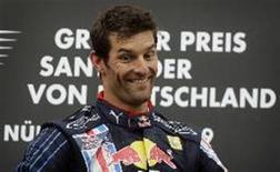 <p>O piloto Mark Webber, da Red Bull, que no final de semana venceu sua primeira corrida após 130 largas na Fórmula 1. REUTERS/Kai Pfaffenbach</p>