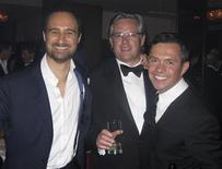 <p>Jewellers (L-R) Mattia Cielo, David Marshall and Jewellery Designer of the Year Shaun Leane party at the 2009 UK Jewellery Awards in London July 16, 2009. Leane, renowned for his darkly romantic catwalk jewellery, scooped the prestigious Jewellery Designer of the Year at the gala, one of the world's premier jewellery events, in the Great Room of the Grosvenor House Hotel. Picture taken July 16, 2009. REUTERS/David Brough</p>