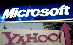 <p>L'investisseur activiste américain Carl Icahn, qui détient environ 5% du capital de Yahoo, se déclare en faveur d'un accord dans la recherche sur internet entre Yahoo et son compatriote Microsoft, alors que les discussions entre les deux groupes américains semblent avoir repris de la vigueur. /Photos d'archives/REUTERS/Rick Wilking/Robert Galbraith</p>