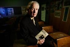 <p>Author Frank McCourt poses for photographs during an interview with Reuters at Stuyvesant High School in New York City, November 14, 2005. REUTERS/Mike Segar</p>