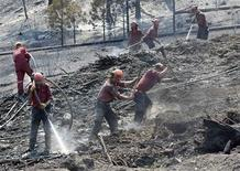 <p>Firefighters clean up hotspots in an area where a wild fire burned in Kelowna, British Columbia, northeast of Vancouver, July 20, 2009. REUTERS/Andy Clark</p>