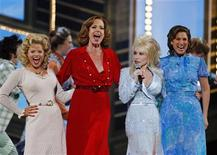 """<p>Dolly Parton (2nd R) performs with the cast of """"9 to 5: The Musical"""" Megan Hilty (L), Allison Janney and Stephanie J. Block (R) during the 63rd annual Tony Awards ceremony in New York, June 7, 2009. REUTERS/Gary Hershorn</p>"""