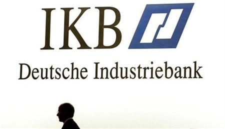 A board member of the Deutsche Industriebank IKB awaits the start of the...