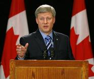 <p>Canadian Prime Minister Stephen Harper answers questions after he announced that Calgary will host the Inter-American Development Bank meeting in 2011 at a news conference in Calgary September 1, 2009. REUTERS/Todd Korol</p>