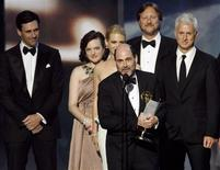 """<p>Executive producer and writer Matthew Weiner accepts the award for best drama series for """"Mad Men"""" at the 61st annual Primetime Emmy Awards in Los Angeles, California September 20, 2009. REUTERS/Mario Anzuoni</p>"""