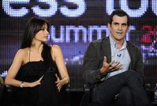 """<p>Cast members Sofia Vergara (L) and Ty Burrell from the show """"Modern Family"""" answer questions during the Disney and ABC Television Summer Television Critics Association press tour in Pasadena, California August 8, 2009. REUTERS/Phil McCarten</p>"""