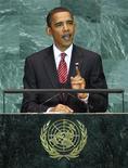 <p>Президент США Барак Обама выступает на Генеральной ассамблее ООН в штаб-квартире организации в Нью-Йорке 23 сентября 2009 года. Президент США Барак Обама в четверг возглавит историческое заседание Совета безопасности ООН, во время которого его участники, как ожидается, попросят страны, обладающие ядерным оружием, отказаться от смертоносного арсенала. REUTERS/Mike Segar</p>