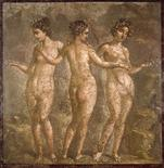 """<p>The """"The Three Graces"""", a piece of a fresco taken from the home of a noble Roman in Pompeii, is one of the 100 paintings from an exhibition in Rome called """"The Paintings of an Empire"""", September 24, 2009. REUTERS/Palaexpo Exhibition Organization/Handout</p>"""