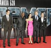 """<p>Actors (from L) Josh Duhamel, Tyrese Gibson, Megan Fox, film director and executive producer Michael Bay and Shia Labeouf pose for a picture as they arrive for the Russian premiere of """"Transformers: Revenge of the Fallen"""" in Moscow June 16, 2009. REUTERS/Mikhail Voskresensky</p>"""