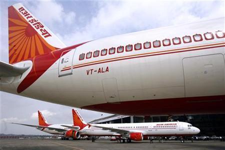 Air India aircrafts are on display at the tarmac of Mumbai airport in this July 30, 2007 file photo. REUTERS/Punit Paranjpe