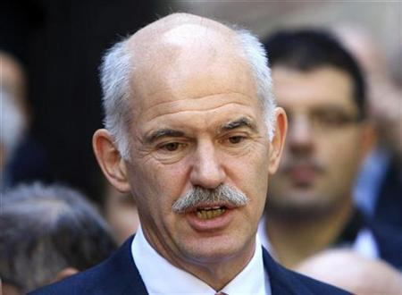 Newly appointed Greece's Prime Minister George Papandreou speaks to media before his meeting with Greek Orthodox Ecumenical Patriarch Bartholomew I at the Fener Patriarchate in Istanbul October 9, 2009. REUTERS/Osman Orsal