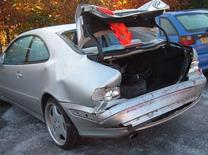 <p>Damage from a crash is seen in this undated handout photo. REUTERS/Greater Manchester Police/Handout</p>