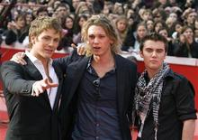"""<p>Actors Charlie Bewley (L), Jamie Campbell Bower and Cameron Bright (R) pose during a photo call before a preview of clips from """"The Twilight Saga: New Moon"""" at the Rome film festival October 22, 2009. REUTERS/Chris Helgren</p>"""