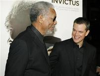 """<p>Actors Morgan Freeman (L) and Matt Damon at the Los Angeles premiere of director Clint Eastwood's film """"Invictus"""" in Beverly Hills, California December 3, 2009. REUTERS/Fred Prouser</p>"""