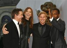 """<p>(L to R) Actor Jeremy Renner, director Kathryn Bigelow, actor Brian Geraghty and actor Anthony Mackie from """"The Hurt Locker"""" pose during a red carpet event at the Venice Film Festival in this September 4, 2008 file photo. REUTERS/Denis Balibouse</p>"""