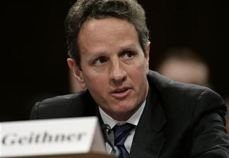 Treasury Secretary Timothy Geithner testifies before the Senate Agriculture, Nutrition and Forestry Committee during a hearing on over-the-counter derivatives reform on Capitol Hill in Washington December 2, 2009. REUTERS/Yuri Gripas