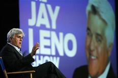 <p>Host Jay Leno gestures during a panel at the Television Critics Association Cable summer press tour in Pasadena, California in this August 5, 2009 file photo. REUTERS/Mario Anzuoni</p>