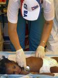 <p>Кубинский врач осматривает девочку в Университетском мирном госпитале в центре Порт-о-Пренса 18 января 2010 года. Гаитяне, отчаявшиеся было получить гуманитарную помощь после разрушительного землетрясения на прошлой неделе, разбирают посылки с питьевой воды, продовольствием и медикаментами, однако медики бьют тревогу: они не в состоянии помочь всем раненым, число которых составляет несколько десятков тысяч человек. REUTERS/Milexsy Duran</p>