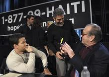 """<p>Actors Mark Wahlberg (L), George Clooney (C) and Jack Nicholson take part in the """"Hope for Haiti Now: A Global Benefit for Earthquake Relief"""" telethon in Los Angeles, California January 22, 2010. REUTERS/Marc Davis/MTV Hope for Haiti Now/Handout</p>"""
