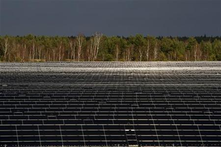 A general view shows the Lieberose solar farm, which is the world's second biggest solar power plant and Germany's biggest, with an area of 162 hectares (equivalent to more than 210 football fields) in Turnow-Preilack, about 150 km (93 miles) southeast of Berlin, November 24, 2009. REUTERS/Fabrizio Bensch